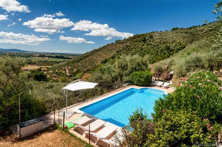 Bildet viser svømmebassenget med feriehuset Villa Pace i bakgrunnen. Utsikt mot Pisa og strendene ved Middelhavet.