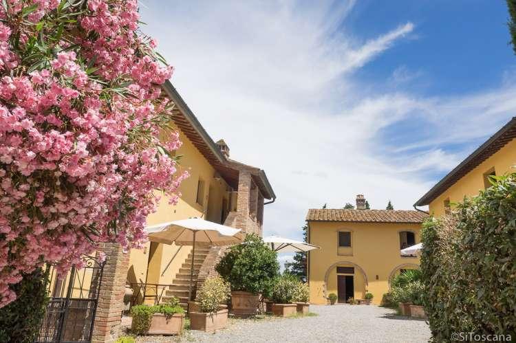 Piazza'en på vingården Collina med innganger til ferieleiligheter og restaurant. Bilde av blomsterflor på plassen. Foto.