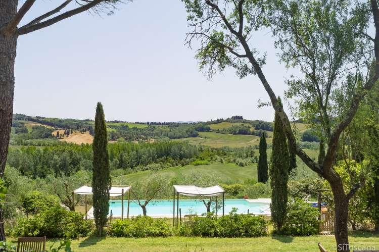 Bildet viser basseng på olivengård med utsikt. Gårdsferie i Toscana.