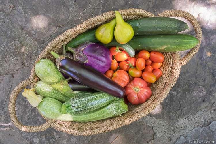 Bildet viser en bastkurv full av nyplukkete grønnsaker. Kurven står på et hellebelagt gulv i Toscana.
